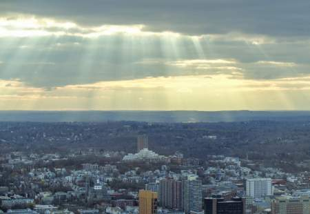 Boston Massachusetts Sun Rays Downtown